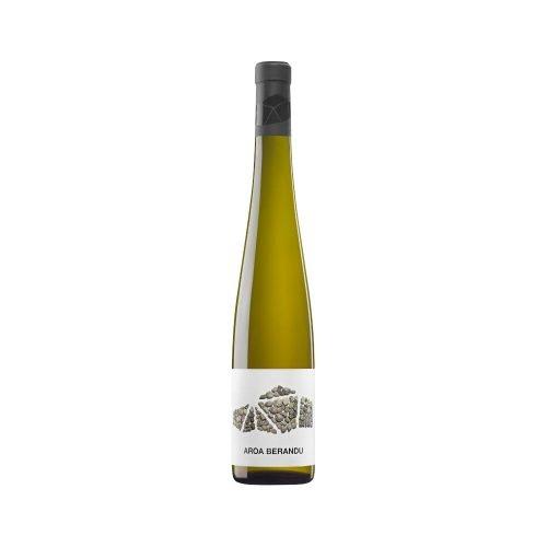 Botella de vino blanco de Navarra, vendimia tardía. De Aroa bodegas, grupo vintae.