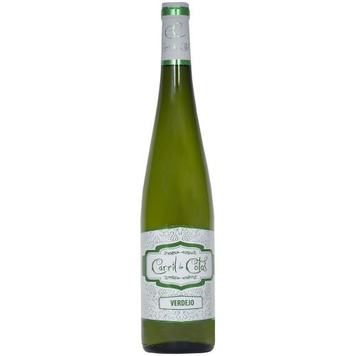 Botella de vino blanco de la Mancha Carril de cotos Verdejo. Bodegas San Isidro.