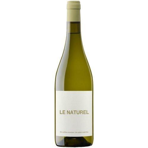 Botella de vino blanco de Navarra, Le naturel Blanco, elaborado por bodegas Aroa, del grupo Vintae. Vino natural, sin sulfitos añadidos.