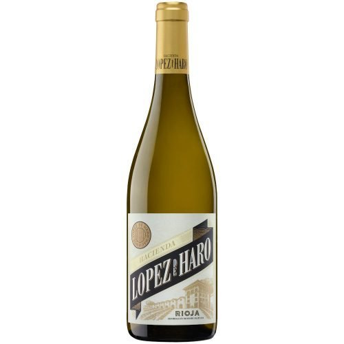 botella de vino blanco de la Rioja Hacienda Lopez de Haro viura. Del grupo Vintae