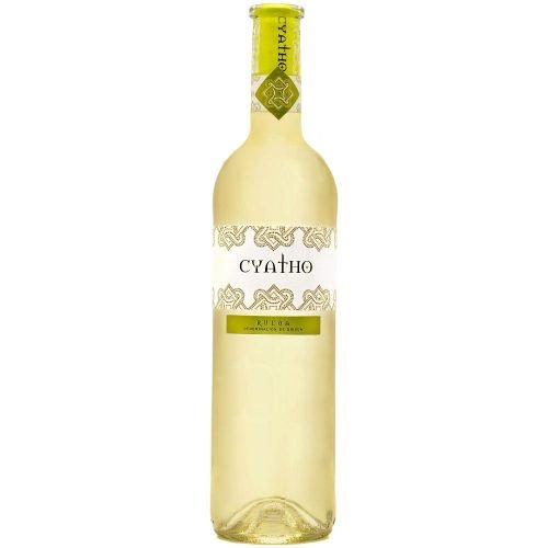 Botella de vino blanco de Rueda, Cyatho verdejo. Del Grupo Pierola