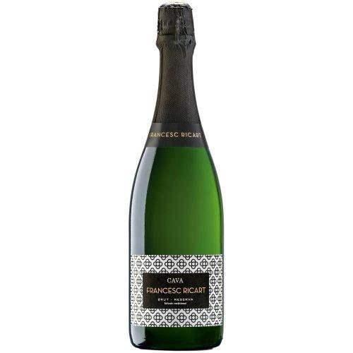 Botella de vino espumoso cava Francesc Ricart Brut reserva. Del grupo vintae