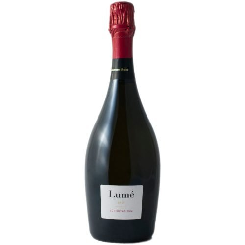 botella de vino espumoso Lume brut. De bodegas Contreras Ruiz en Huelva