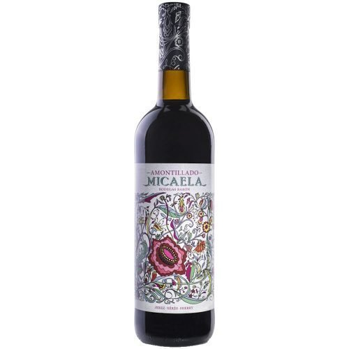 Botella de vino generoso amontillado Micaela, de Bodegas Barón, en Sanlucar de Barrameda