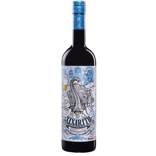 Botella de vino generoso amontillado Xixarito, de Bodegas Barón, en Sanlucar de Barrameda