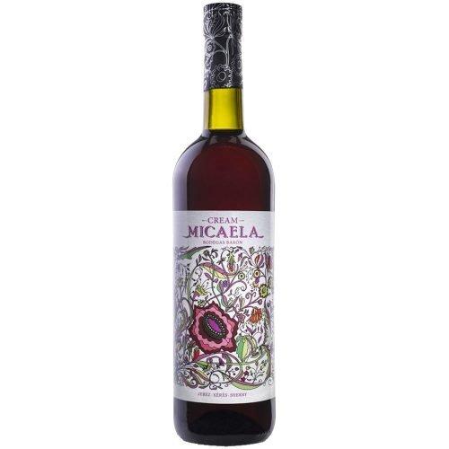 Botella de vino generoso cream Micaela de bodegas Barón, en Sanlucar de Barrameda