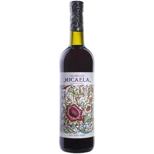 Botella de vino generoso oloroso Micaela de bodegas Barón, en Sanlucar de Barrameda