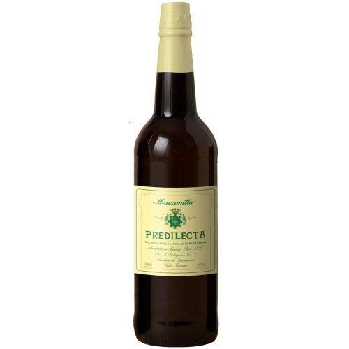 Botella de vino generoso del marco de Jerez. Manzanilla predilecta, de bodegas Carbajo Ruiz