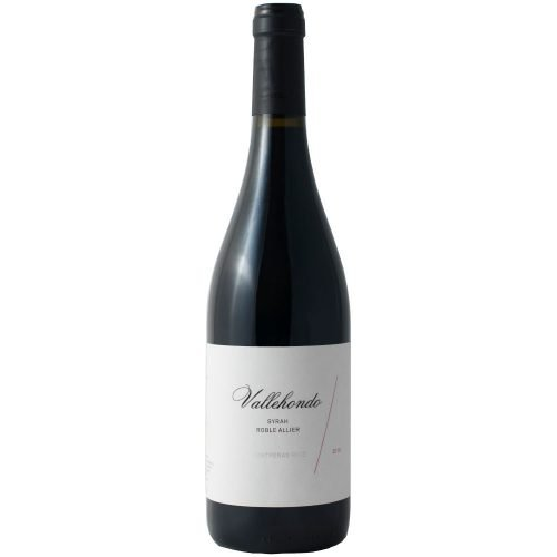 Botella de vino tinto Vallehondo, de Huelva. Elaborado por bodegas Contreras Ruiz