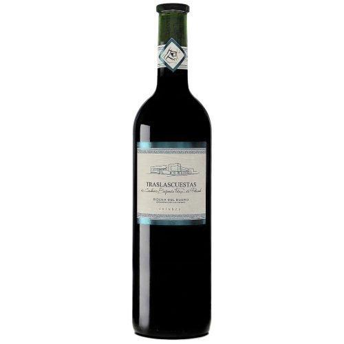 Botella de vino tinto de Ribera del Duero Traslascuestas Crianza. Del Grupo Pierola