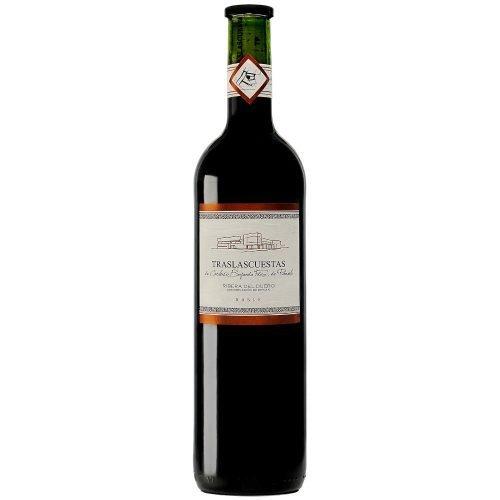 Botella de vino tinto de Ribera del Duero Traslascuestas Roble. Del grupo Pierola