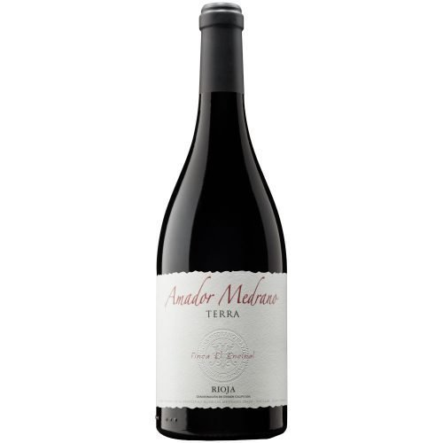 Botella de vino tinto de Rioja, elaborado por por bodega Amador Medrano, del grupo Medrano Irazu. Amador Medrano Terra
