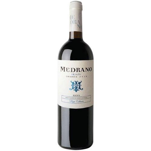 Botella de vino tinto crianza de Rioja, de bodega Medrano Irazu