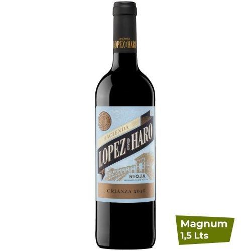 Botella magnum de vino tinto de Rioja, Hacienda Lopez de Haro crianza, del grupo Vintae