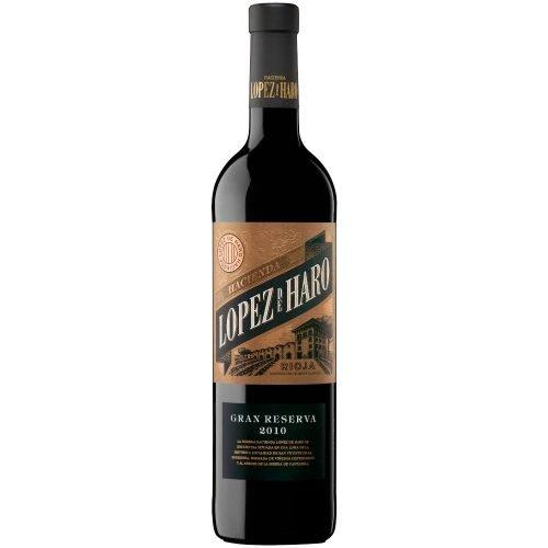 Botella de vino tinto de Rioja Hacienda Lopez de Haro gran reserva. Del grupo Vintae.