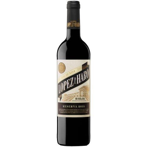 Botella de vino tinto de Rioja Hacienda Lopez de Haro reserva. Del grupo Vintae.